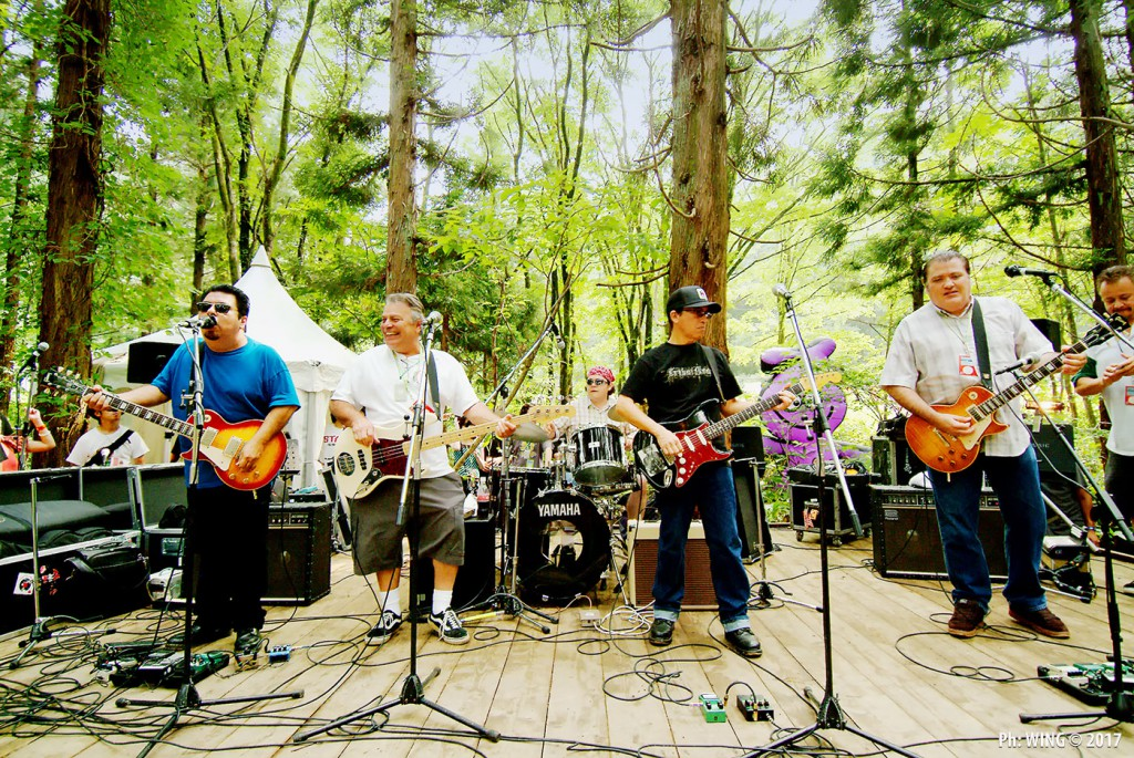 Los Lobos rocking out in the woods.